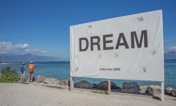 Lake garda sirmione sign dream yoko ono beach