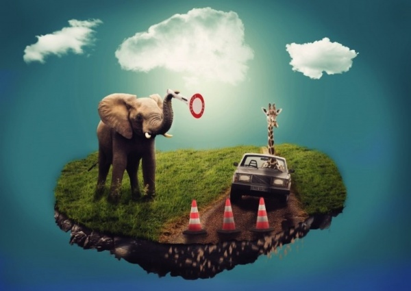 2 surreal image of elephant giraffe and car